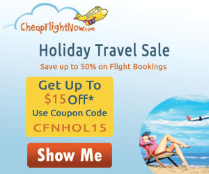 Get up to $15 Off* on Holiday Travel Deals with coupon code CFNHOL15. Book Now!