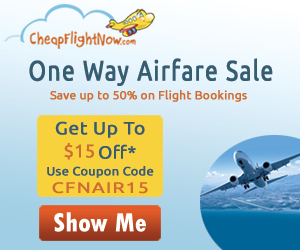 $15 off on flights with One Way Airfare Sale. Book Now!